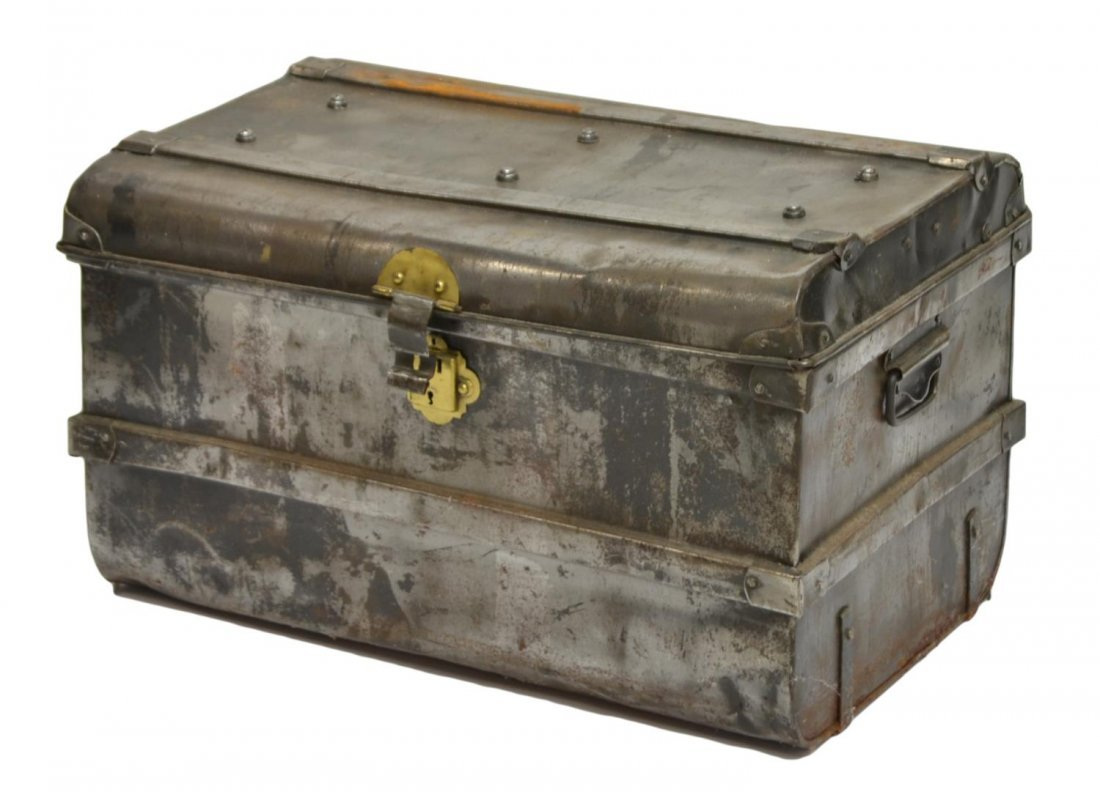 (3) ANTIQUE METAL TRUNK, SIDE TABLE & BUTLERS TRAY - 4
