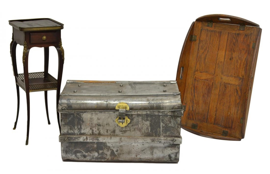 (3) ANTIQUE METAL TRUNK, SIDE TABLE & BUTLERS TRAY - 7