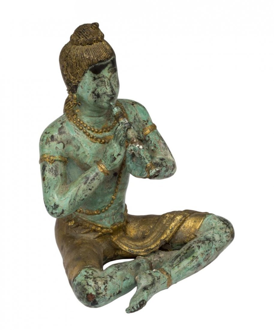 ASIAN PATINATED AND GILT SEATED BUDDHA FIGURE