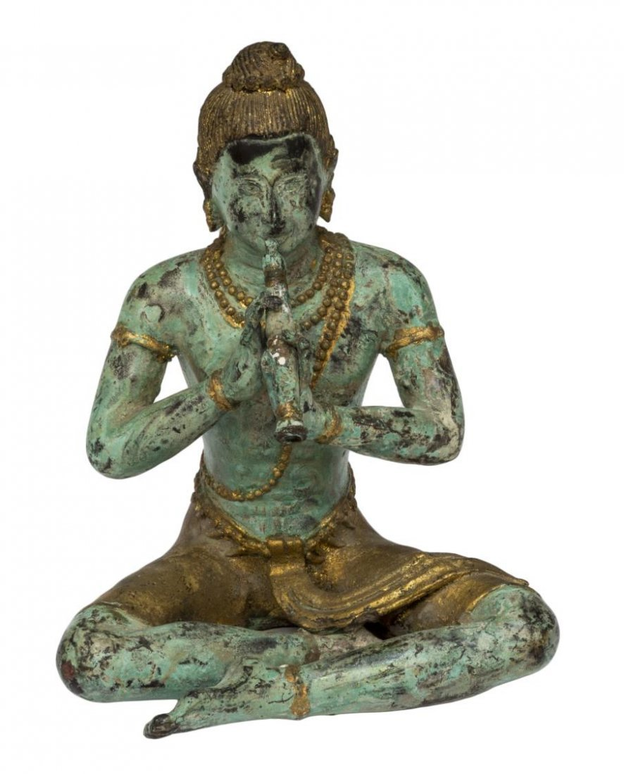 ASIAN PATINATED AND GILT SEATED BUDDHA FIGURE - 2