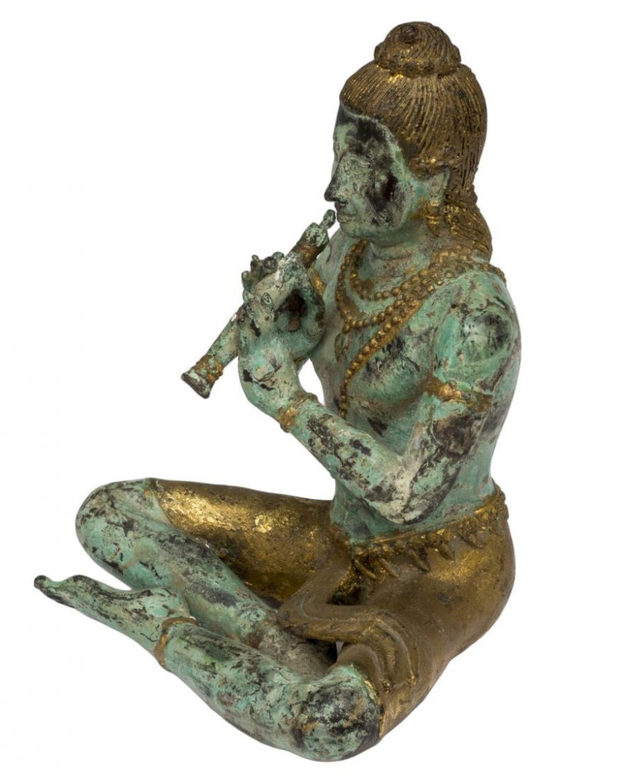 ASIAN PATINATED AND GILT SEATED BUDDHA FIGURE - 3