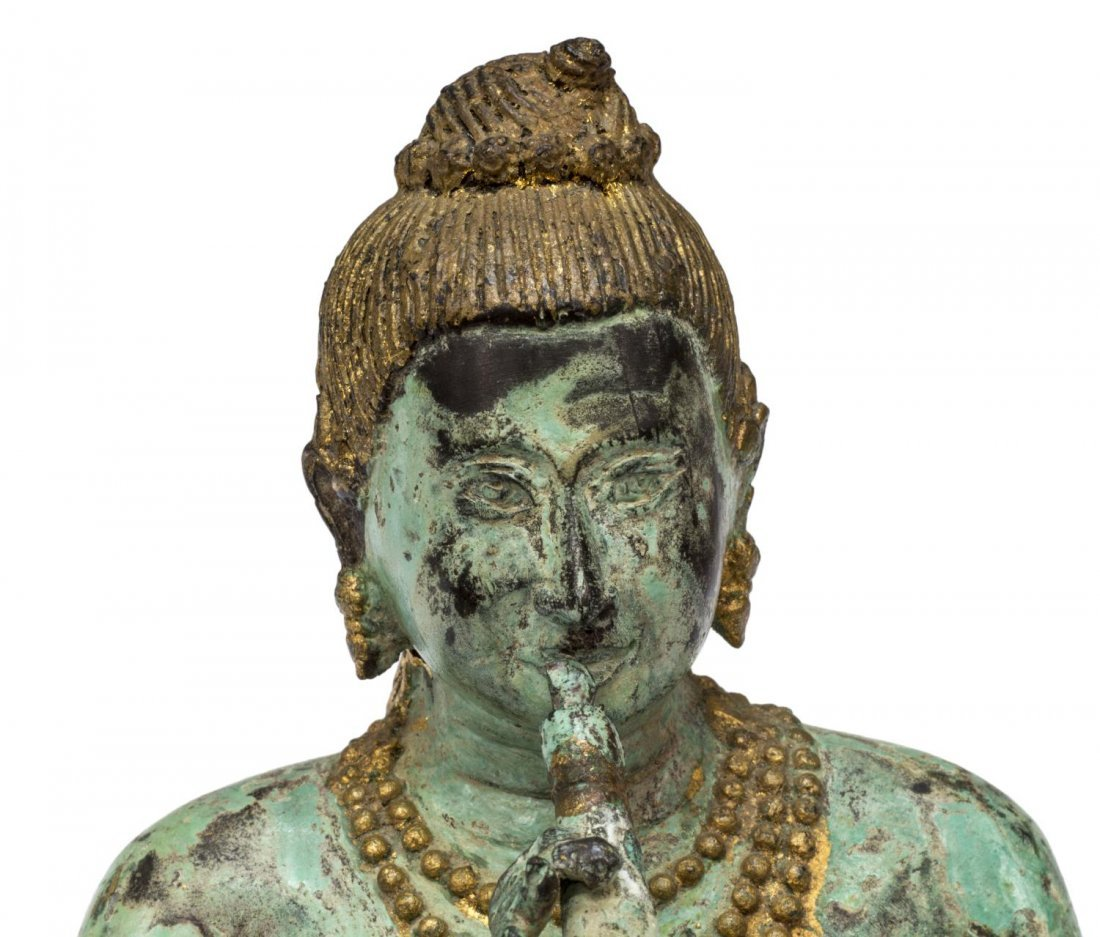 ASIAN PATINATED AND GILT SEATED BUDDHA FIGURE - 5