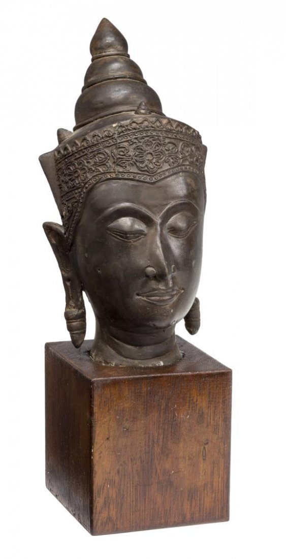 ASIAN BRONZE BUDDHA HEAD ON WOODEN PEDESTAL