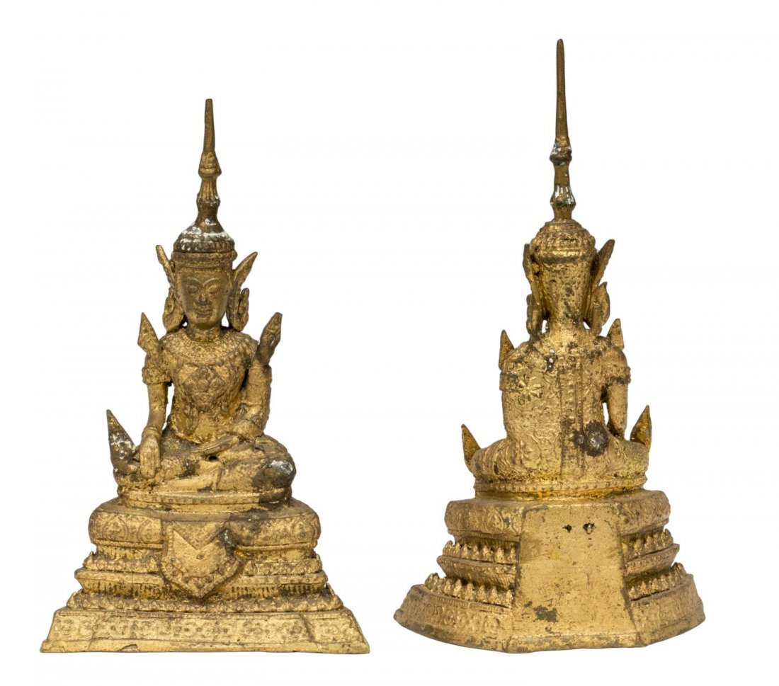 (PAIR) DECORATIVE THAI GILT METAL SEATED DANCERS