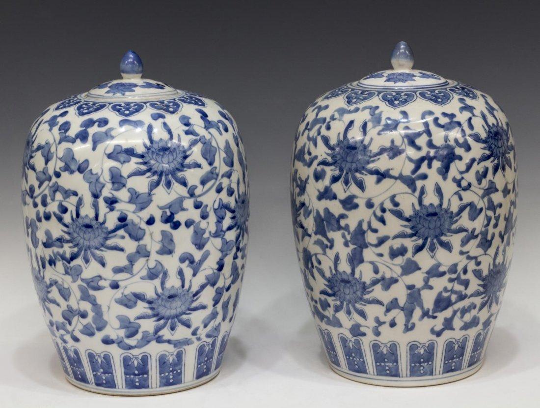 (PAIR) CHINESE BLUE & WHITE FOLIATE MELON JARS