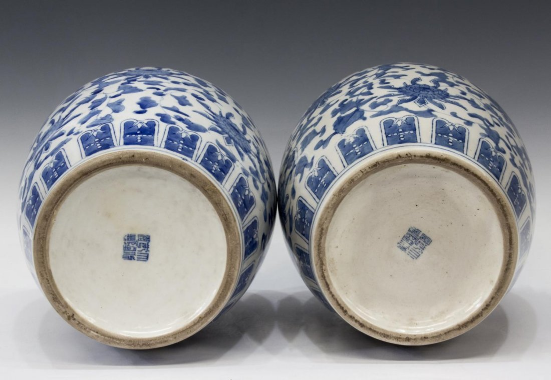 (PAIR) CHINESE BLUE & WHITE FOLIATE MELON JARS - 2