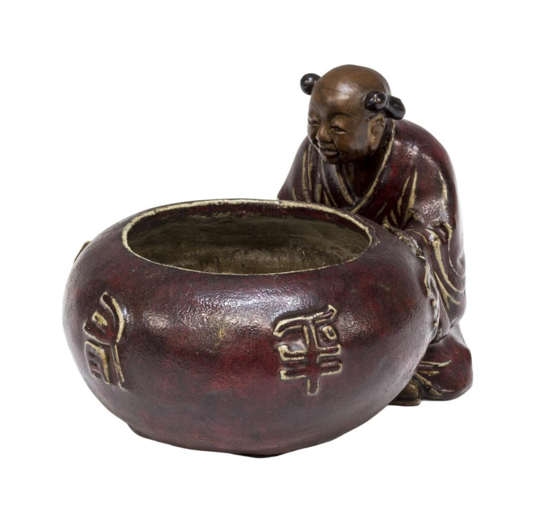 CHINESE GLAZED CERAMIC FIGURAL WATER POT - 3