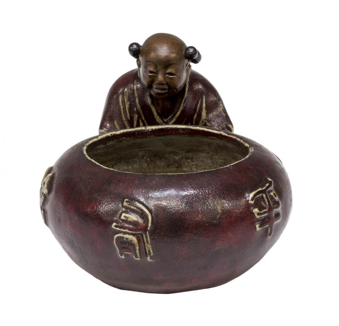 CHINESE GLAZED CERAMIC FIGURAL WATER POT - 4