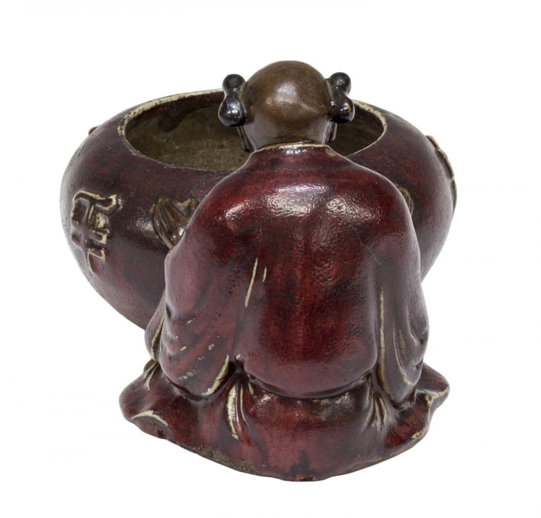 CHINESE GLAZED CERAMIC FIGURAL WATER POT - 5