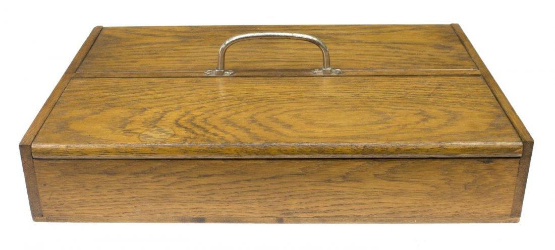 EDWARDIAN TWO DOOR OAK CUTLERY BOX