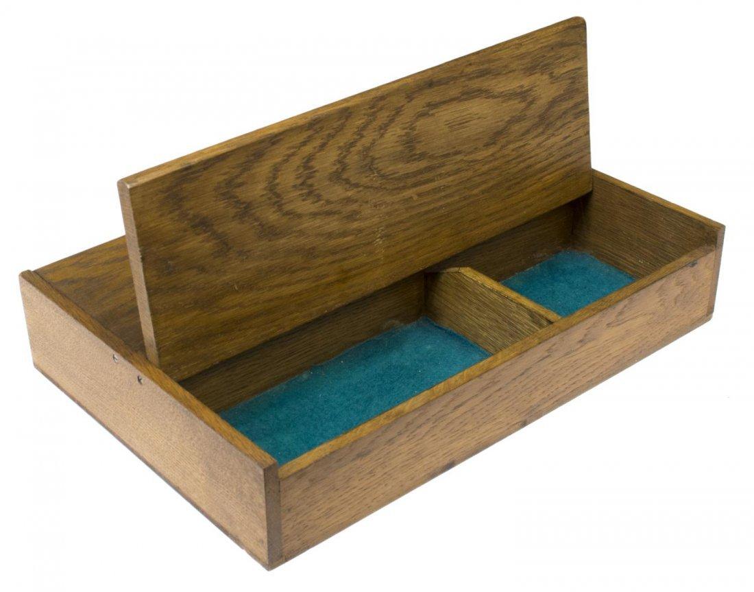 EDWARDIAN TWO DOOR OAK CUTLERY BOX - 2
