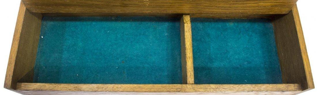 EDWARDIAN TWO DOOR OAK CUTLERY BOX - 4