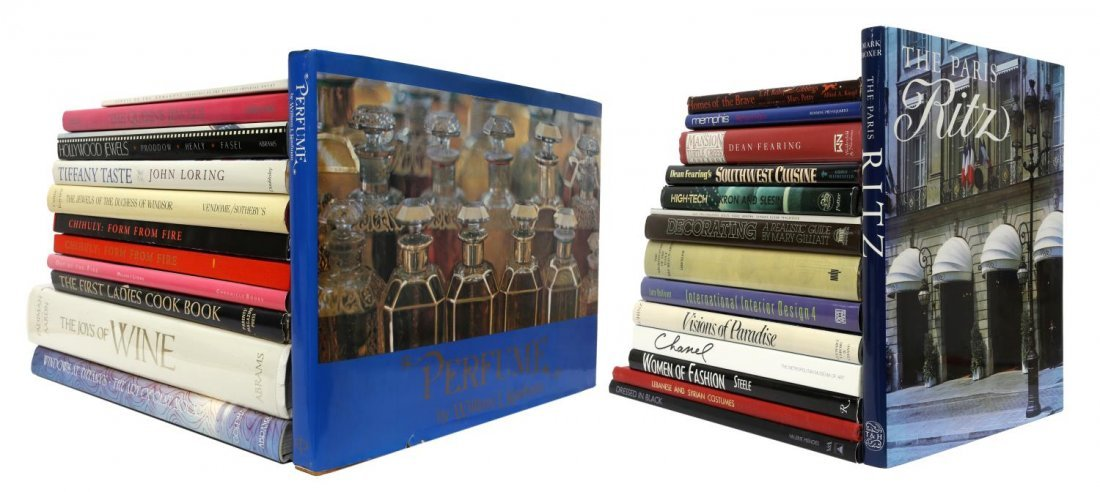 (LOT) ART GLASS, JEWELRY, AND DECORATING BOOKS