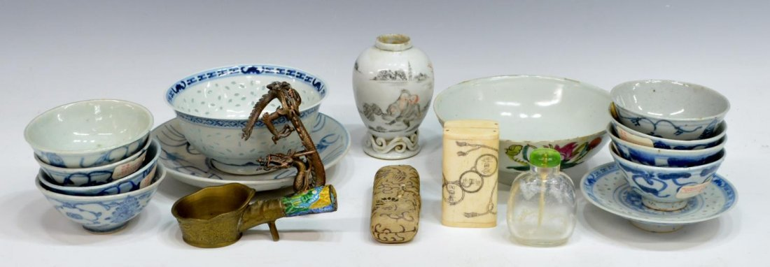 (17) CHINESE ASIAN PORCELAIN, BONE & METAL OBJECTS