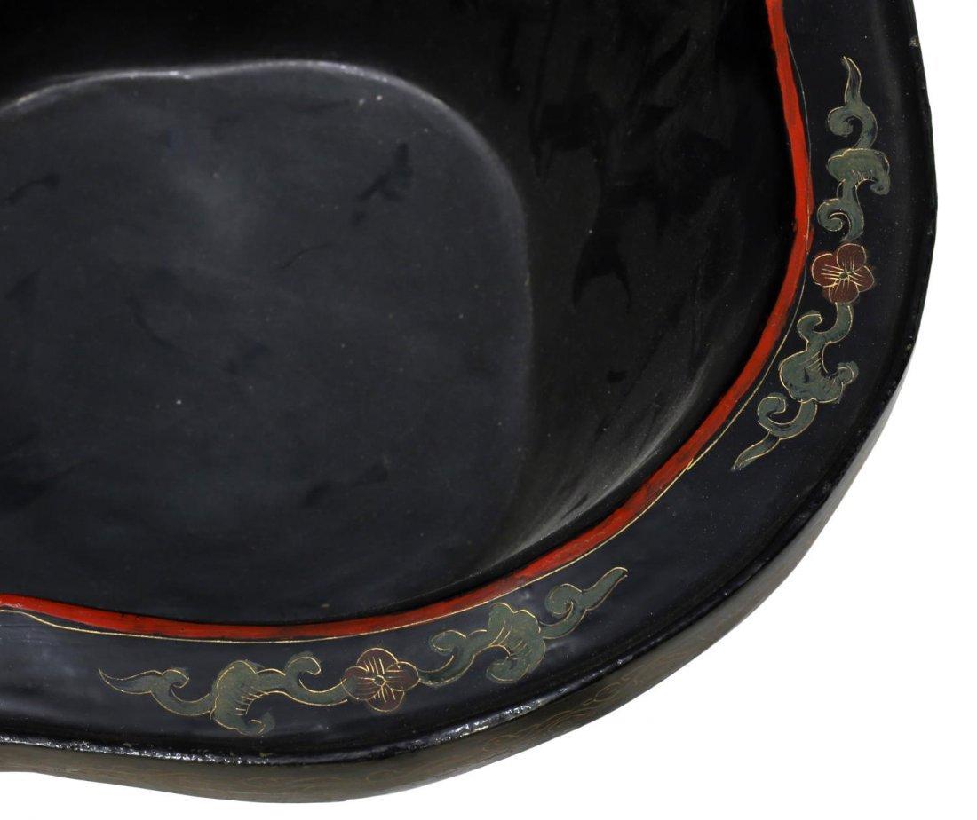 (2) CHINESE BLACK LACQUER PAPIER-MACHE PLANTERS - 4