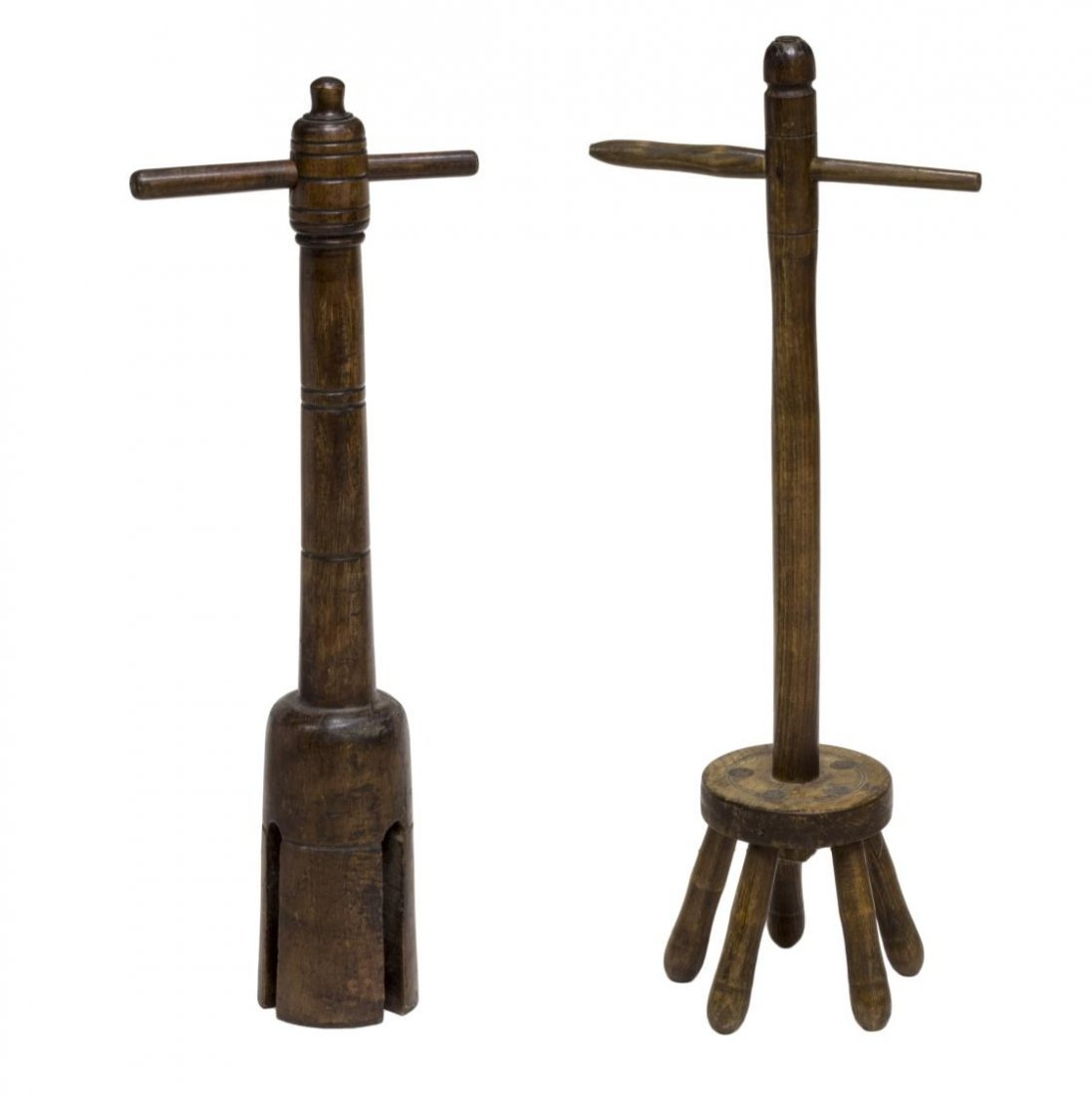 (2) ENGLISH OAK WASHING POSSERS, C. 1900