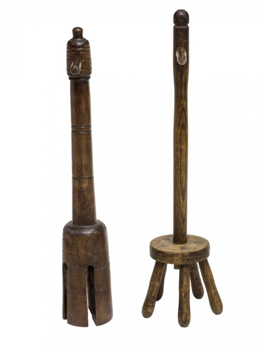 (2) ENGLISH OAK WASHING POSSERS, C. 1900 - 2