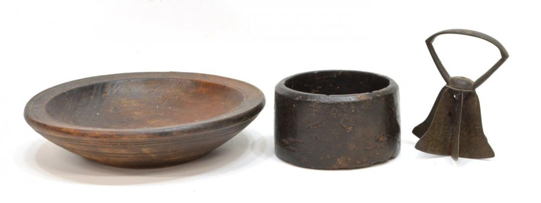 (7) VINTAGE PRIMITIVE KITCHENWARE, WOOD BOWLS - 4