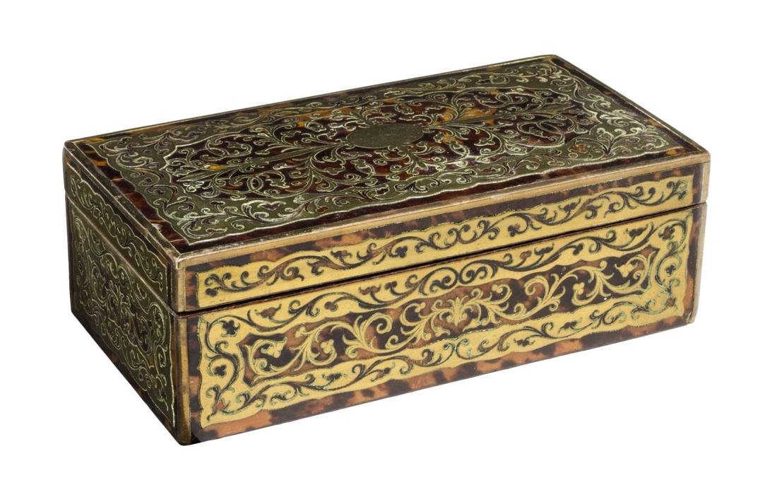 ANTIQUE BRASS INLAID BOULLE TABLE BOX