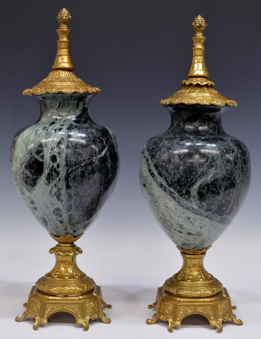 (PAIR) ITALIAN GILT BRASS & VARIEGATED MARBLE URNS - 2
