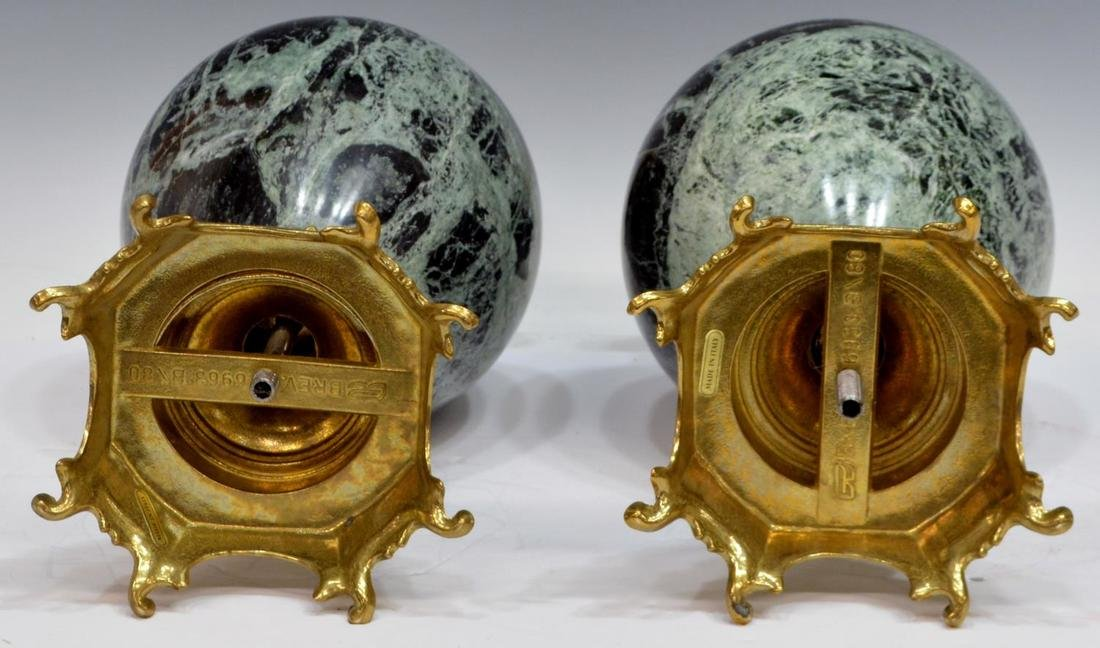 (PAIR) ITALIAN GILT BRASS & VARIEGATED MARBLE URNS - 3