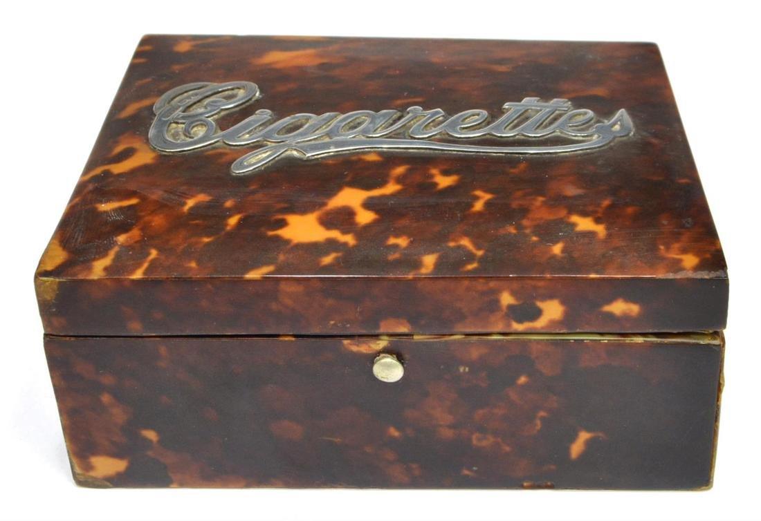 ENGLISH STERLING MOUNTED SHELL CIGARETTE BOX