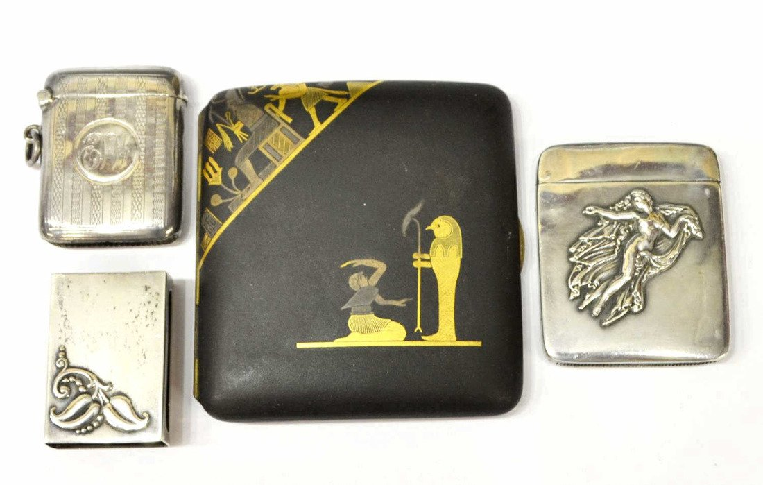 (4) STERLING SILVER MATCH SAFES & A CIGARETTE CASE