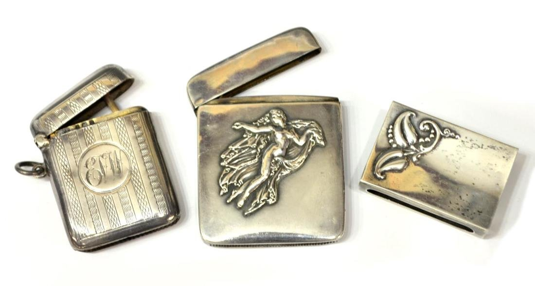 (4) STERLING SILVER MATCH SAFES & A CIGARETTE CASE - 2