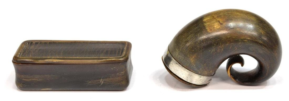 ANTIQUE HORN SILVER MOUNTED SNUFF MULL & SNUFF BOX