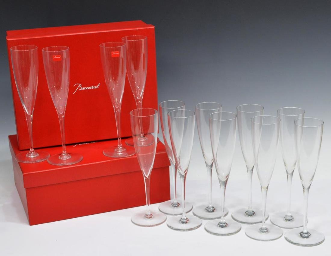 (13) BACCARAT COLORLESS CRYSTAL CHAMPAGNE FLUTES