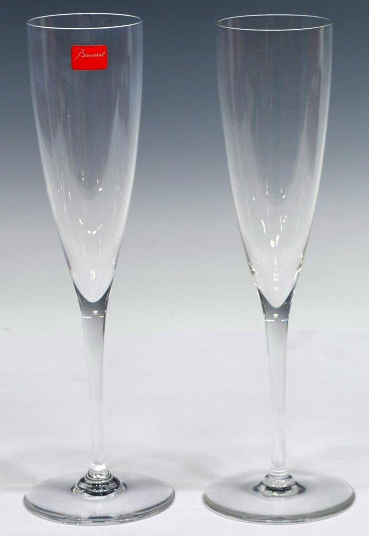 (13) BACCARAT COLORLESS CRYSTAL CHAMPAGNE FLUTES - 2