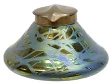 ART NOUVEAU BOHEMIAN IRIDESCENT ART GLASS INKWELL