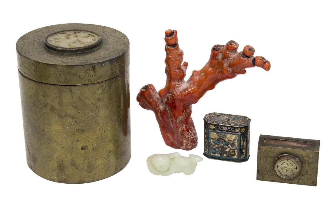 (5) CHINESE RED CORAL, ENAMELED SILVER BOX, JADE