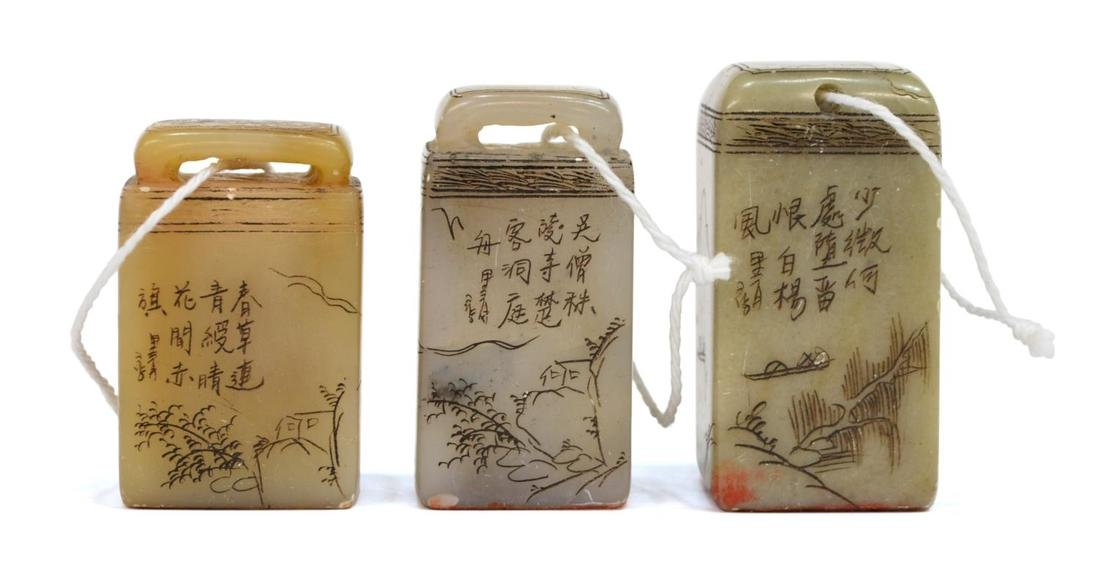 (5) GROUP CHINESE HARD STONE & ROCK CRYSTAL SEALS - 4
