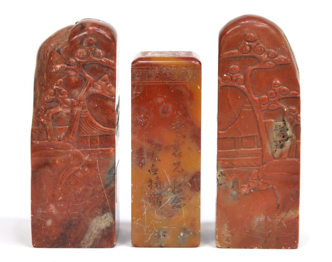 (3) CHINESE CARVED RED HARD STONE STAMP SEALS