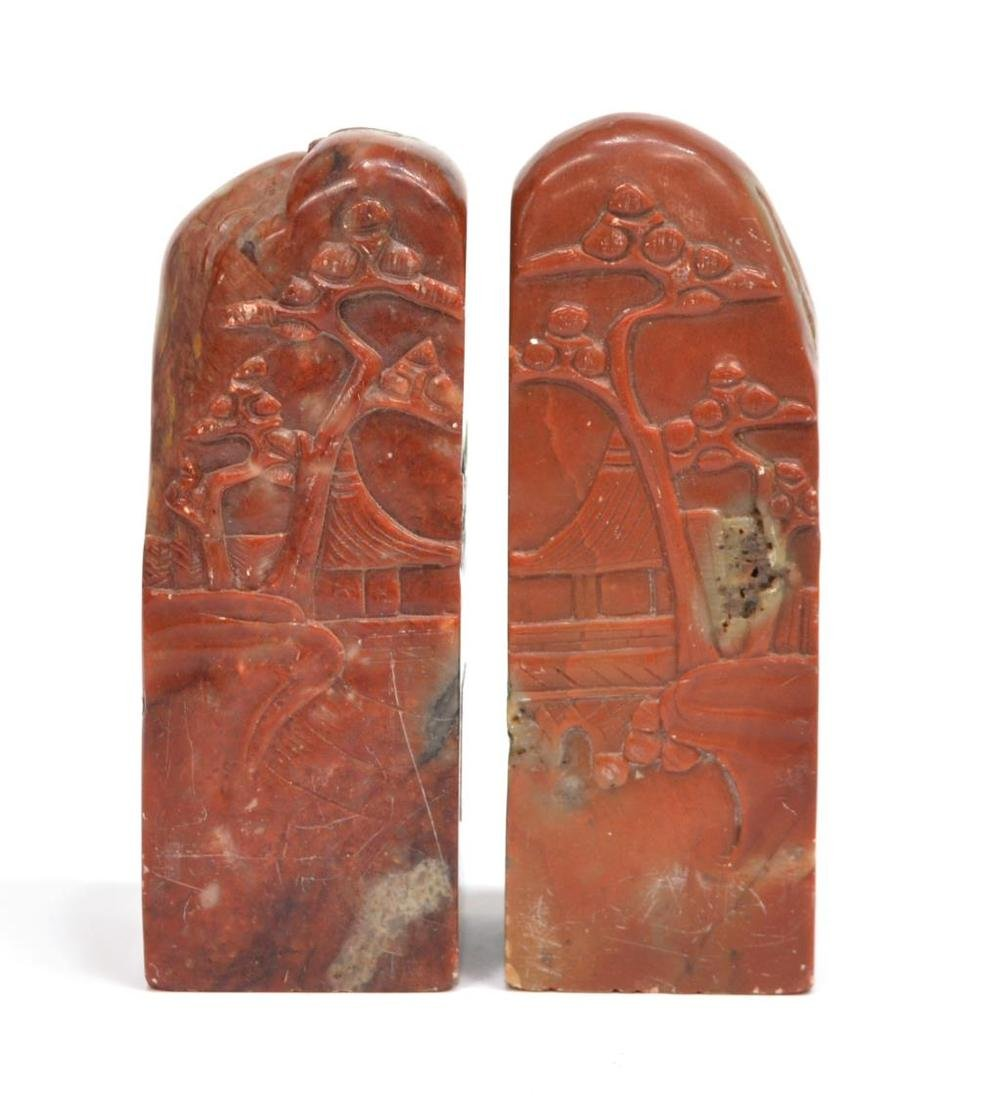 (3) CHINESE CARVED RED HARD STONE STAMP SEALS - 2