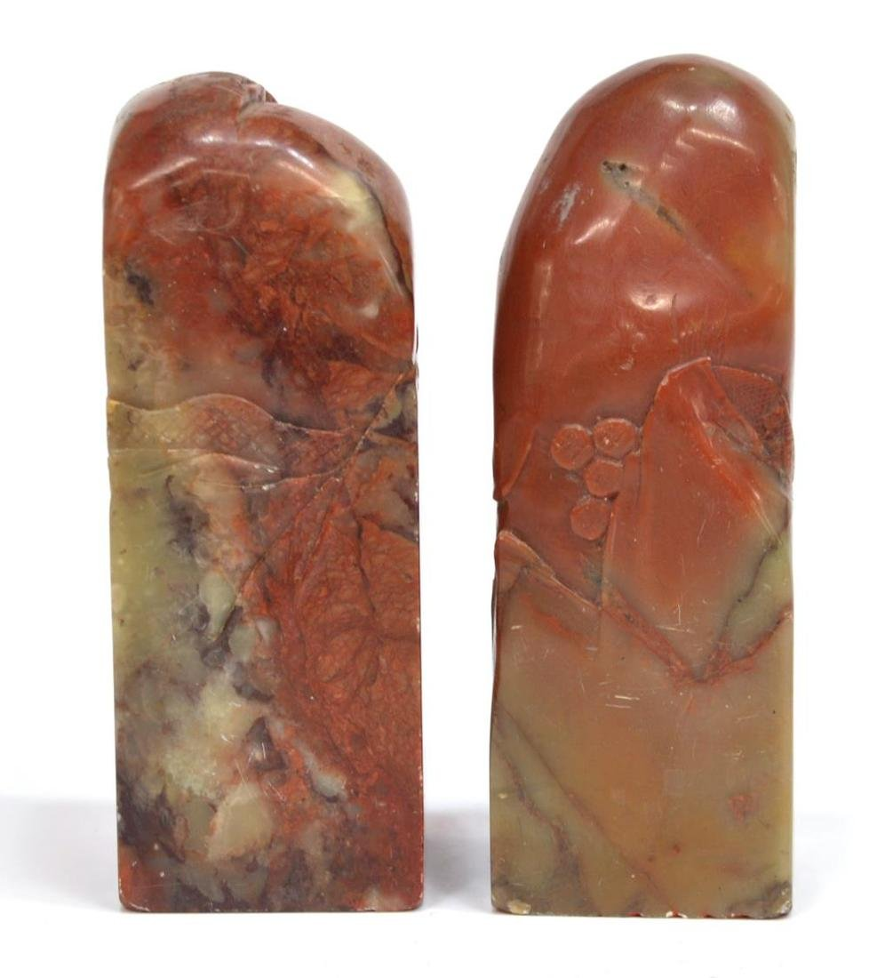 (3) CHINESE CARVED RED HARD STONE STAMP SEALS - 3