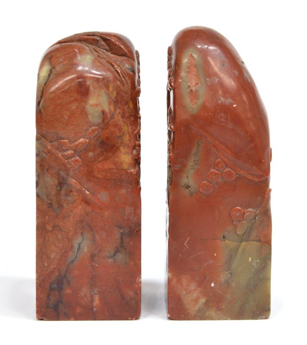 (3) CHINESE CARVED RED HARD STONE STAMP SEALS - 5