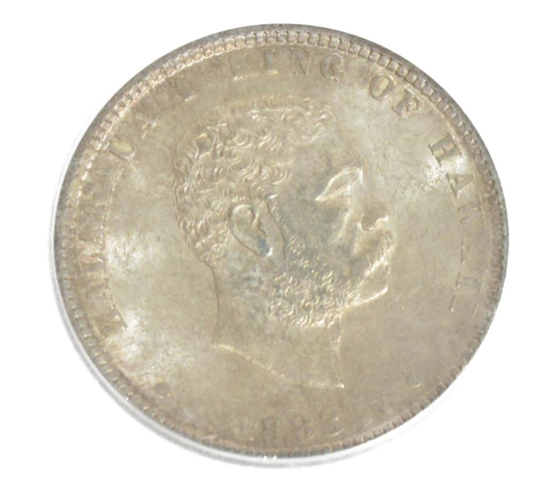 1883 KING OF HAWAII SILVER QUARTER DOLLAR COIN