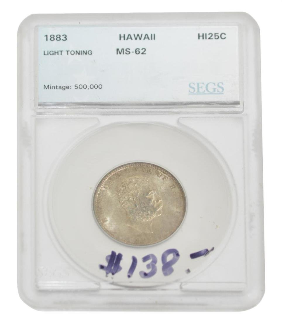 1883 KING OF HAWAII SILVER QUARTER DOLLAR COIN - 2