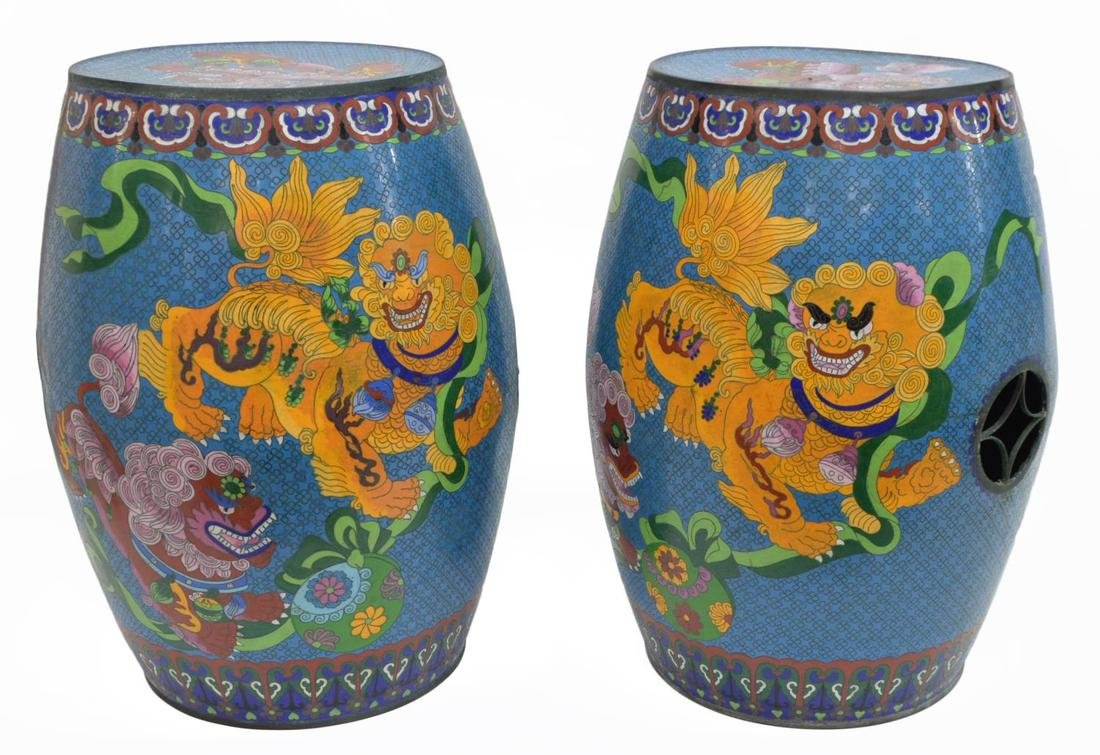 (2) CHINESE ENAMEL CLOISONNE GARDEN STOOLS