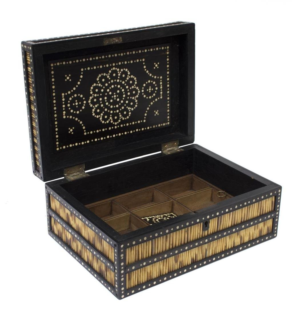 ANGLO-INDIAN INLAID PORCUPINE QUILL BOX - 2