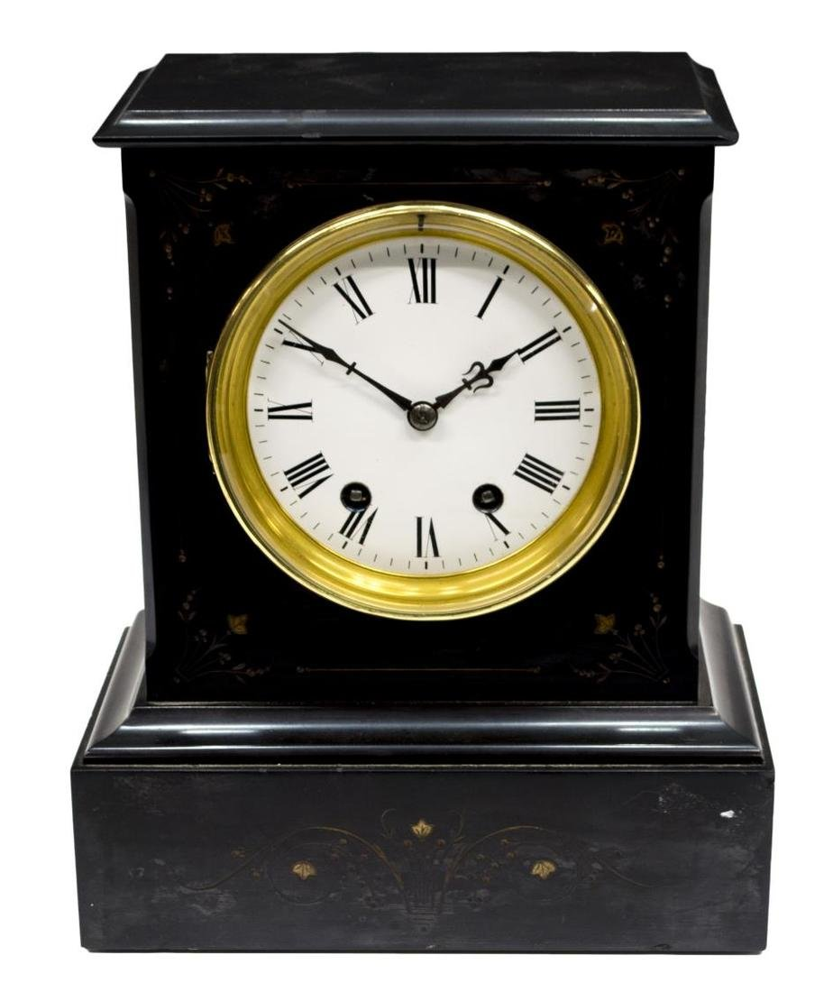 SLATE CASED 19TH C., FLORAL DECORATED CLOCK