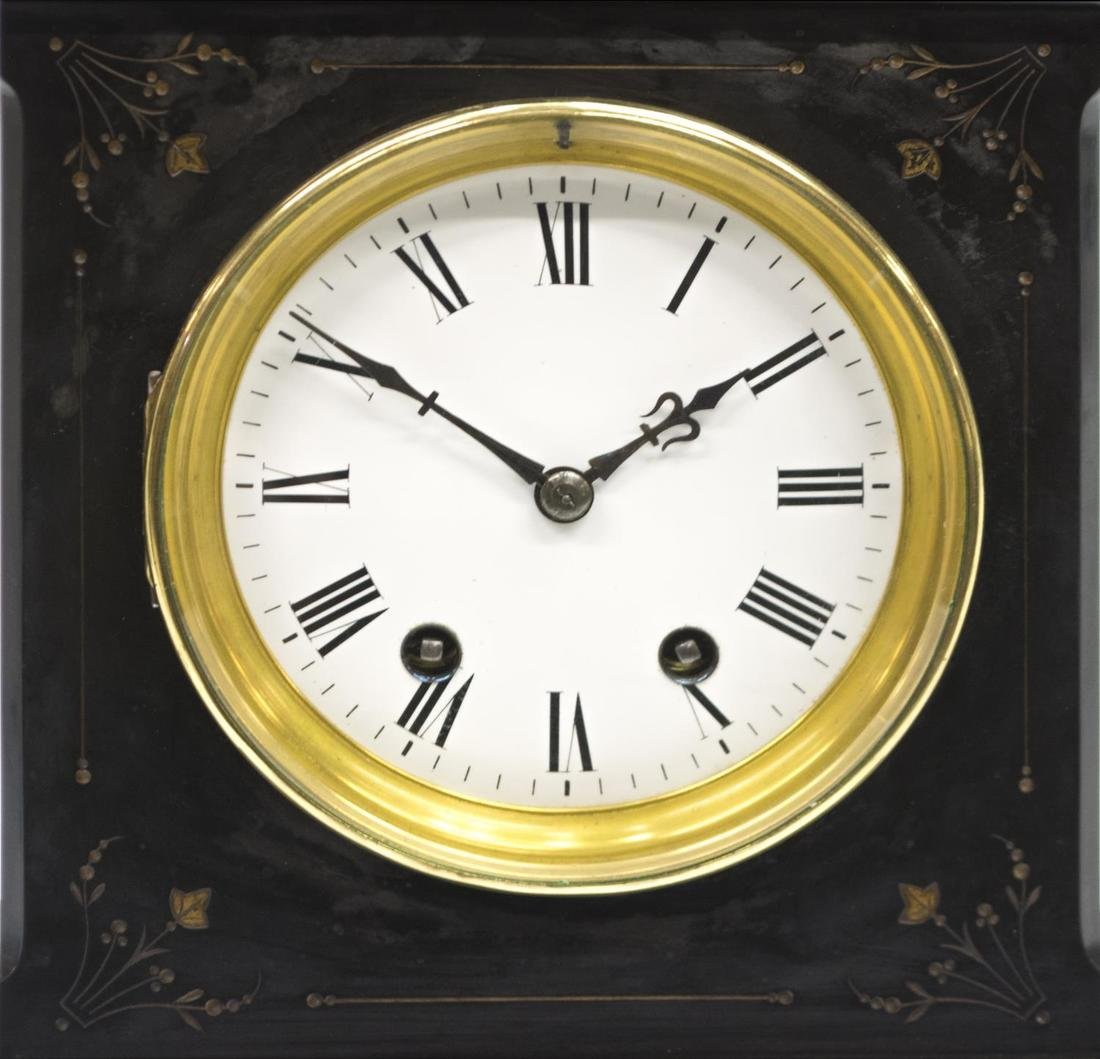 SLATE CASED 19TH C., FLORAL DECORATED CLOCK - 3