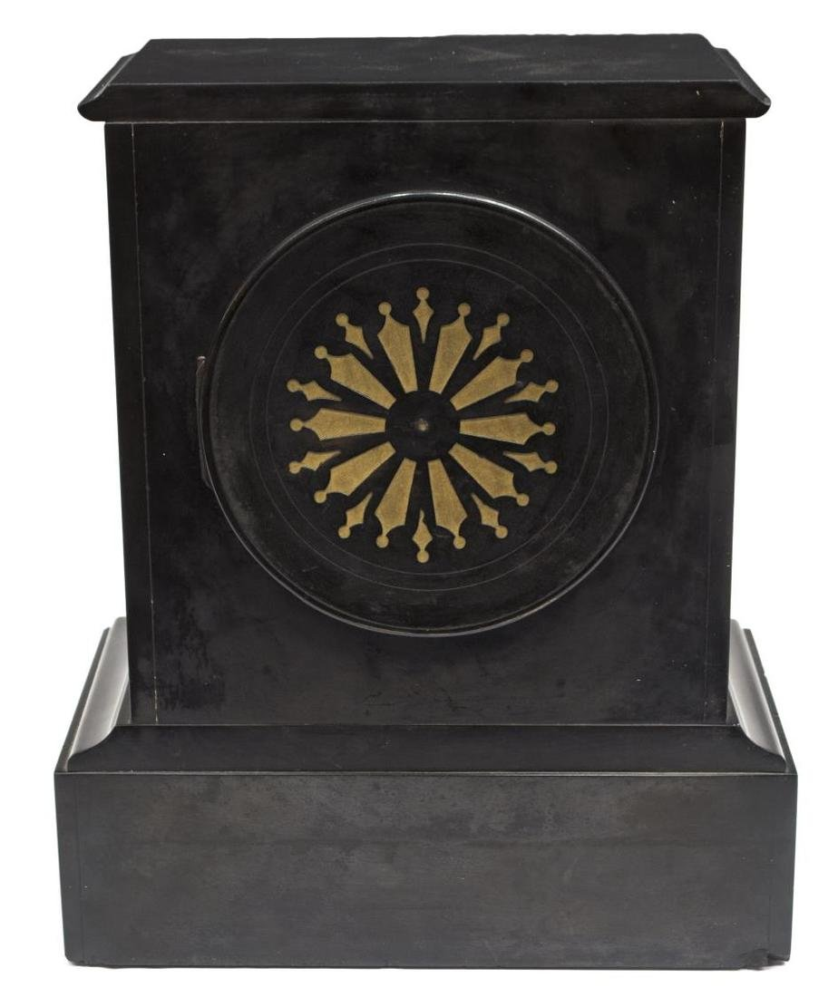 SLATE CASED 19TH C., FLORAL DECORATED CLOCK - 5