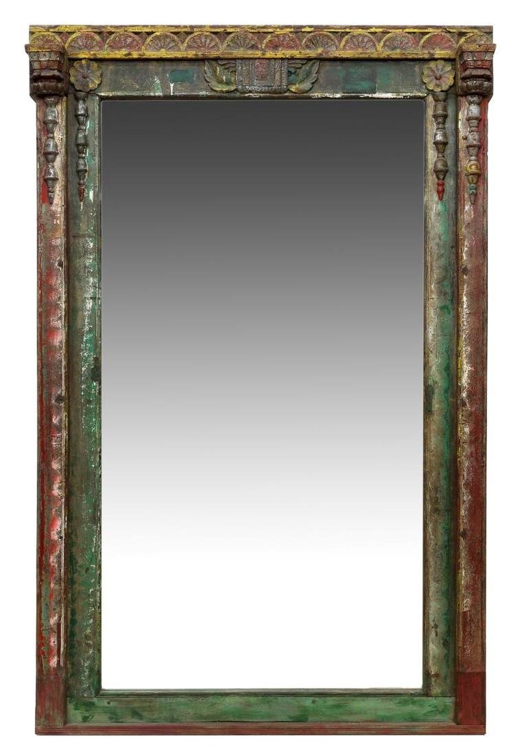 CARVED TEAKWOOD POLYCHROME FRAMED MIRROR