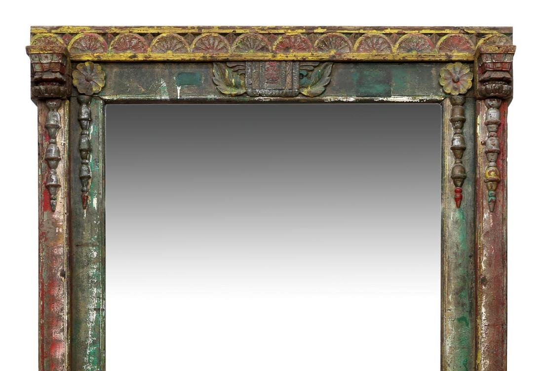CARVED TEAKWOOD POLYCHROME FRAMED MIRROR - 2