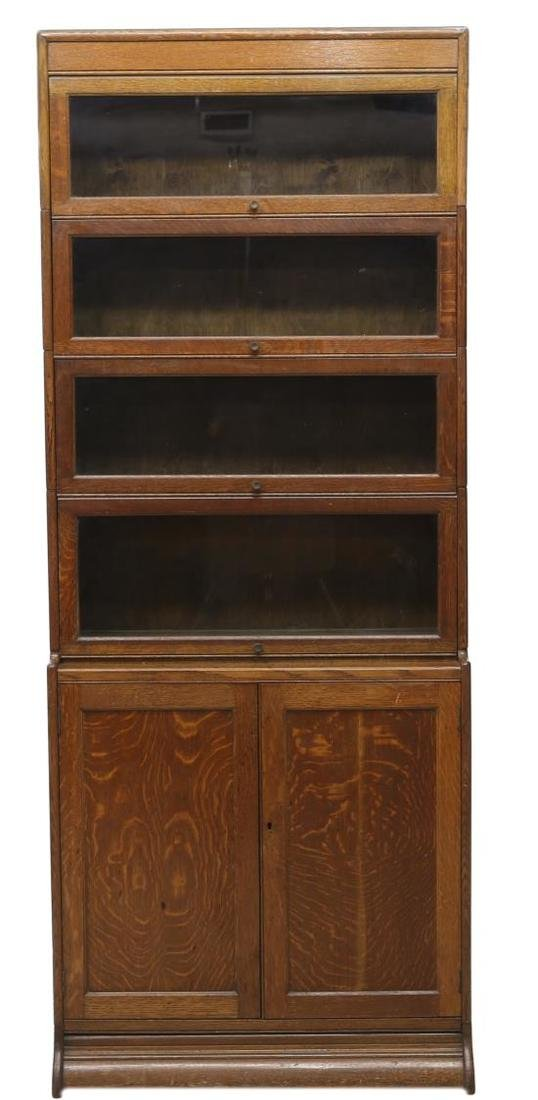 ENGLISH TIGER OAK STACKING LAWYERS BOOKCASE 1920 - 2