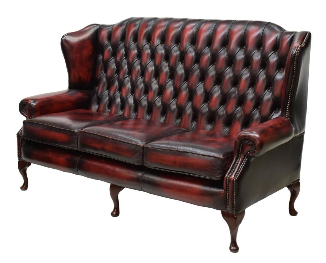 ENGLISH HIGH BACK OXBLOOD CHESTERFIELD SOFA