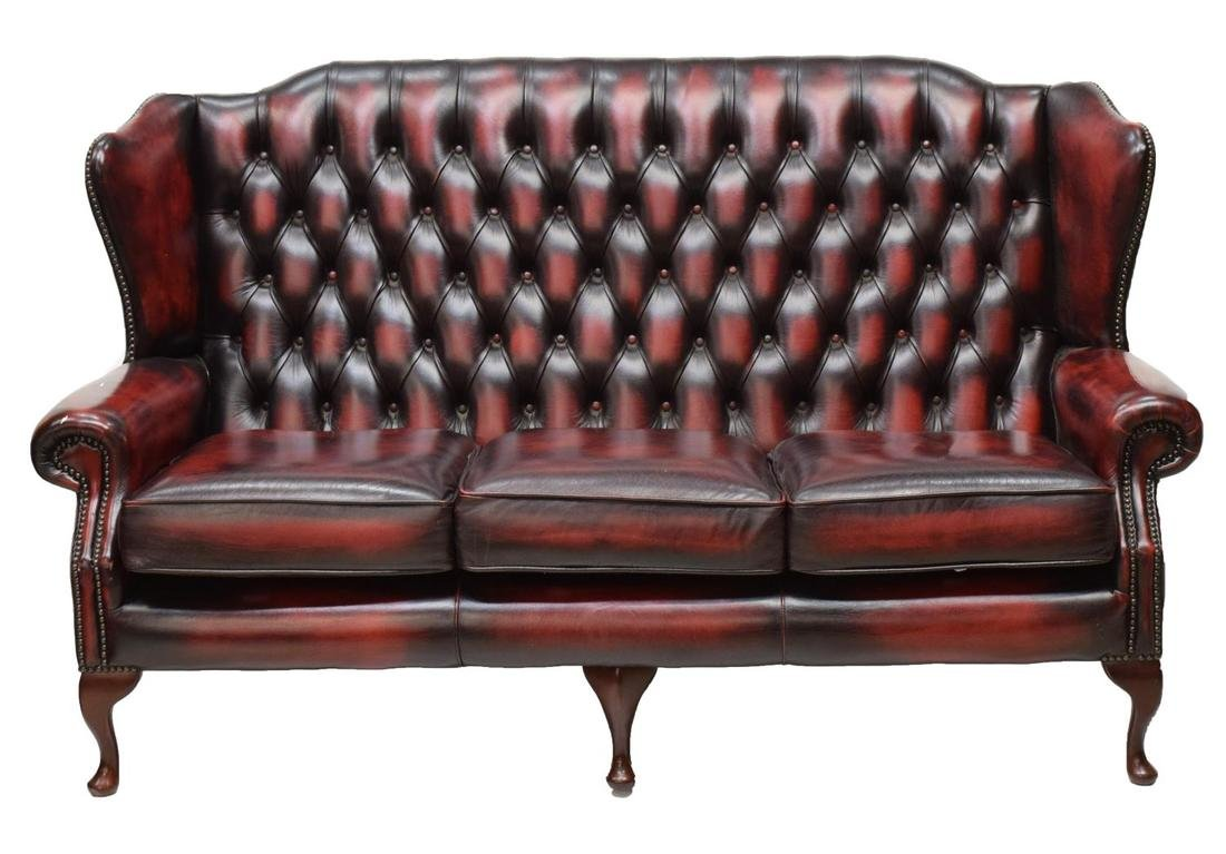 ENGLISH HIGH BACK OXBLOOD CHESTERFIELD SOFA - 2